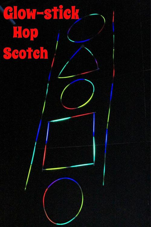 50+ Glow Stick Ideas - Glow Stick Hop Scotch
