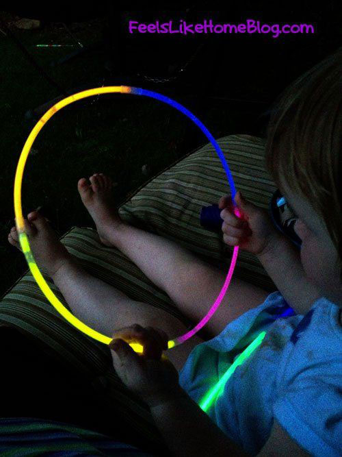 50+ Glow Stick Ideas - Glow Stick Hula Hoop
