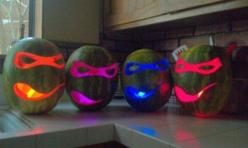 50+ Glow Stick Ideas - Glow Stick Ninja Turtle Watermelon O Lanterns