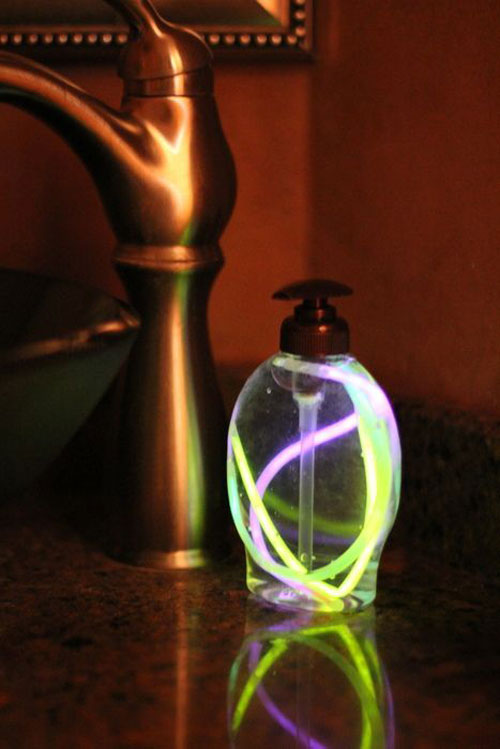 50+ Glow Stick Ideas - Glow Stick Soap Dispenser