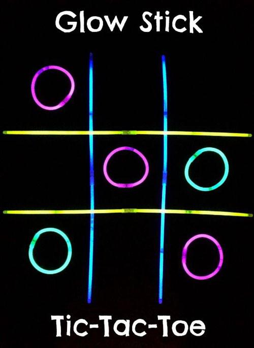 50+ Glow Stick Ideas - Glow Stick Tic Tac Toe