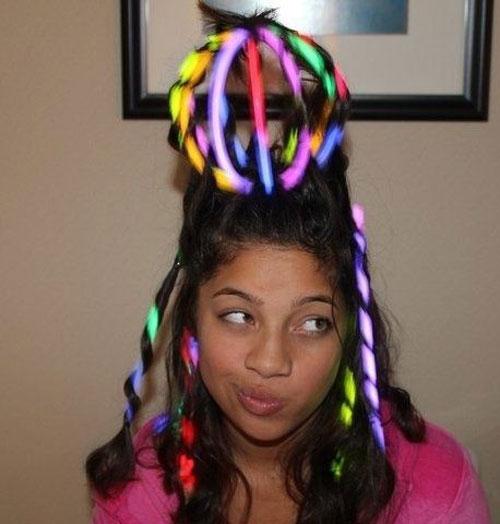 50+ Glow Stick Ideas - Glow Sticks Hair Braid