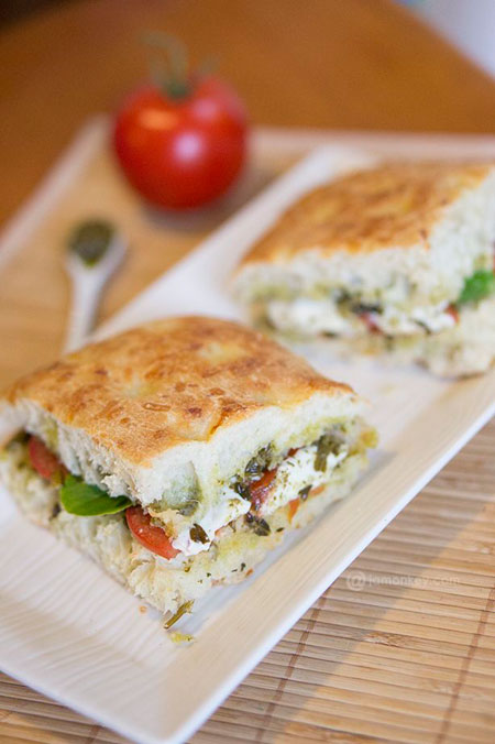 50+ Homemade Starbucks Recipes - Roasted Tomato and Mozzarella Panini