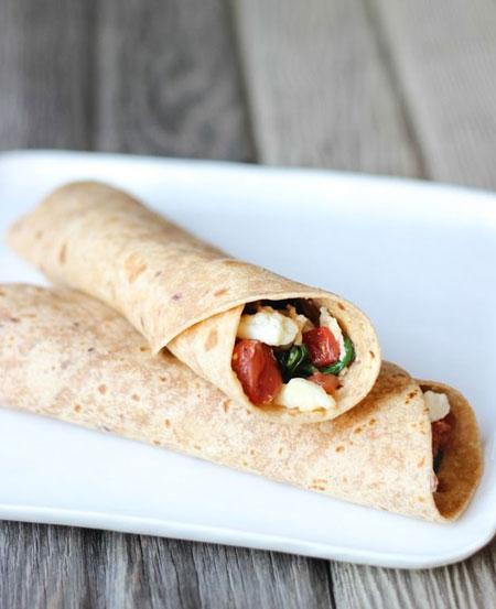 50+ Homemade Starbucks Recipes - Spinach & Feta Breakfast Wraps