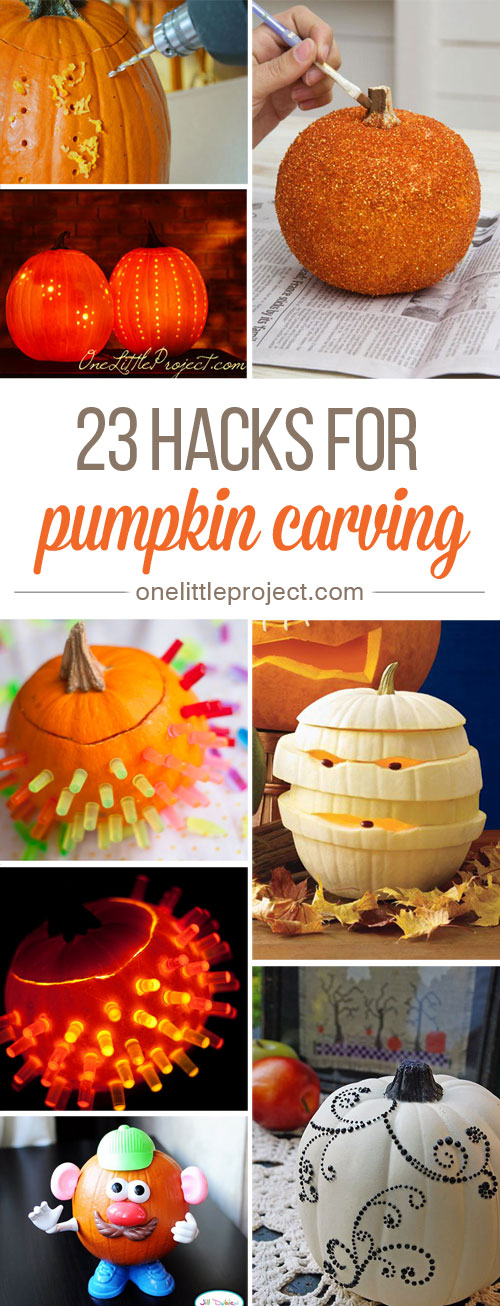 These pumpkin carving hacks are AWESOME! From Lite Brite pumpkins to glitter pumpkins, there are so many fun ideas here to try!