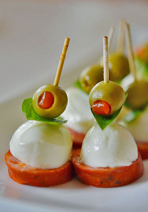 50+ Food on a Stick Lunch Ideas - Bocconcini Cheese Antipasto Skewers