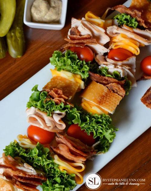 50+ Food on a Stick Lunch Ideas - Classic Club Sandwich on a Stick