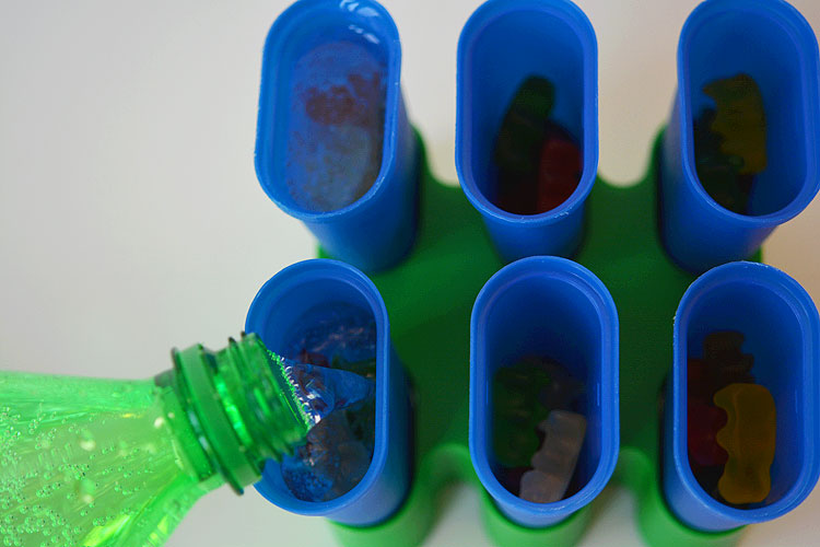 These Sprite and gummy bear popsicles are really easy to make and turn into a sweet, candy like popsicle treat. My kids loved them!