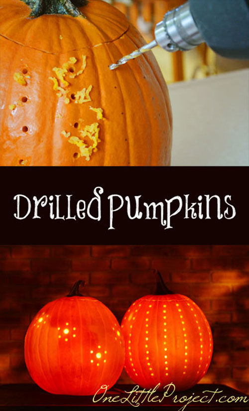 Pumpkin Carving Hacks - Drilled Pumpkins