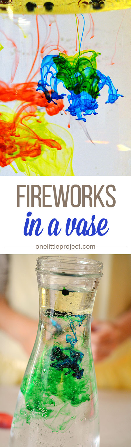 This fireworks in a vase experiment was a really easy science activity! You'll get brightly coloured streaks and lines of colour.