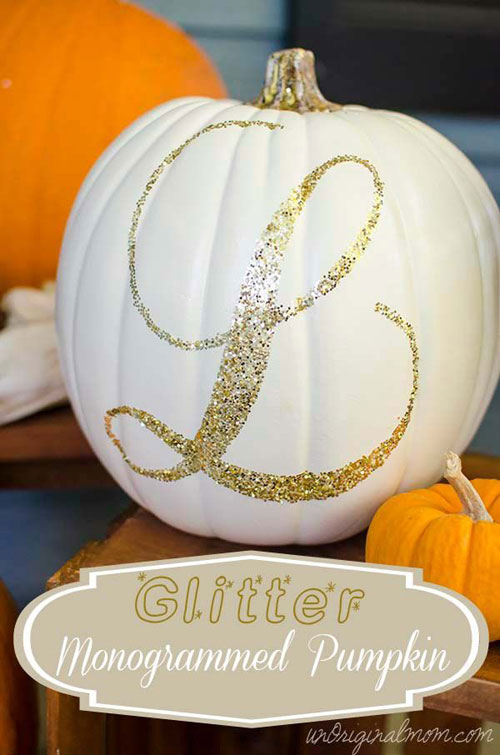 Pumpkin Carving Hacks - Glitter Monogrammed Pumpkin