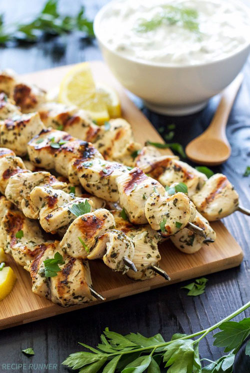 50+ Food on a Stick Lunch Ideas - Greek Lemon Chicken Skewers with Tzatziki Sauce