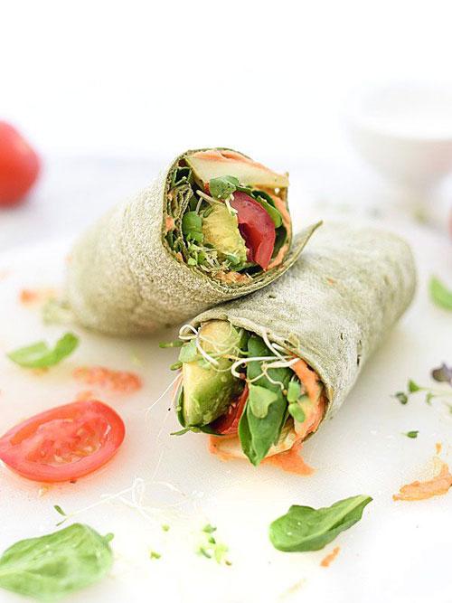 Non-Sandwich Lunch Ideas - Hummus Veggie Wrap