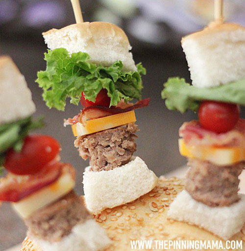 50+ Food on a Stick Lunch Ideas - Bacon Cheeseburger Skewers