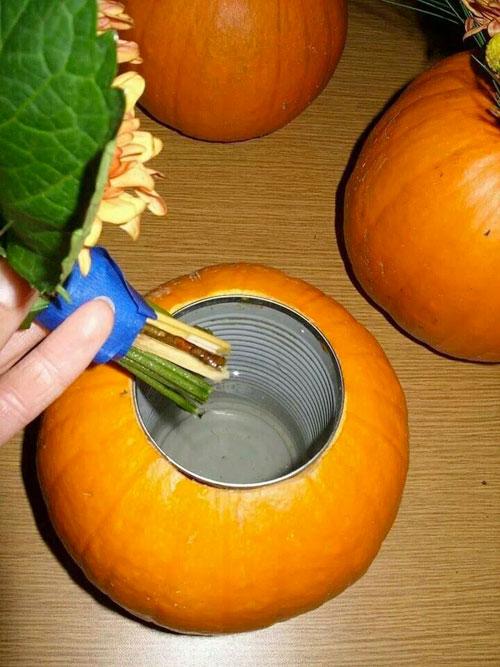Pumpkin Carving Hacks - Pumpkin Flower Arrangement
