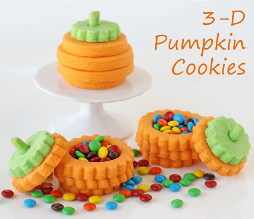 Halloween Food Ideas - 3-D Pumpkin Cookies