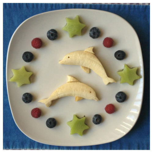 50+ Kids Food Art Lunches - Banana Dolphins