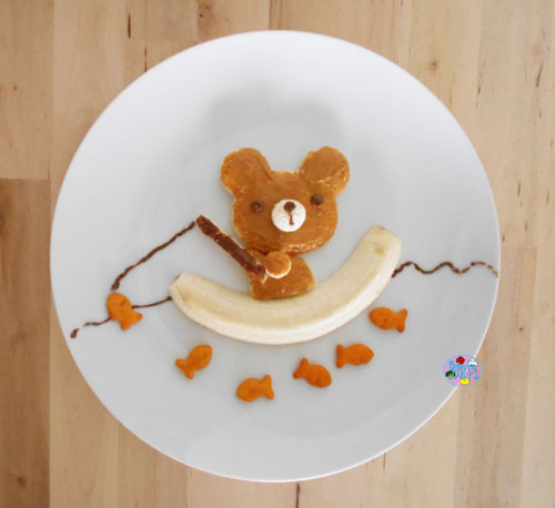 50+ Kids Food Art Lunches - Bear Fishing Food Art