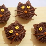 Non-Spooky Black Cat Cupcakes