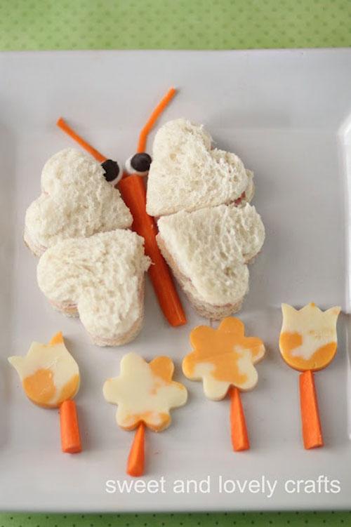 50+ Kids Food Art Lunches - Butterfly Carrot Sandwich