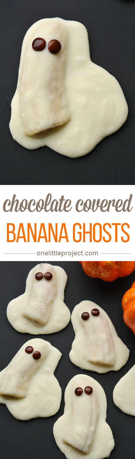 These chocolate covered banana ghosts are a quick and easy Halloween treat! And they are so DELICIOUS. Bananas and chocolate?! Mmmmm… : )