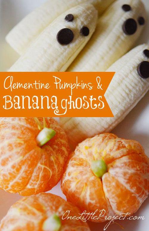 Halloween Food Ideas - Clementine Pumpkins and Banana Ghosts
