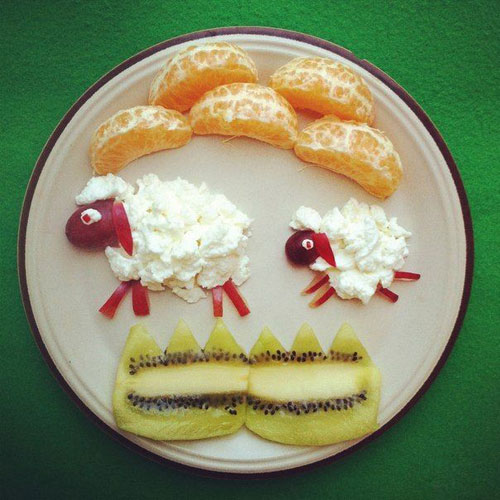50+ Kids Food Art Lunches - Cottage Sheep