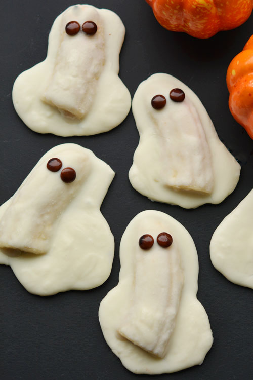 white chocolate banana ghosts