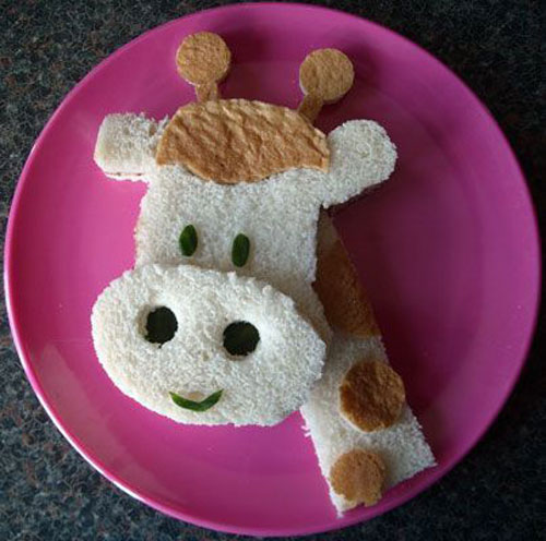 50+ Kids Food Art Lunches - Giraffe Sandwich Food Art