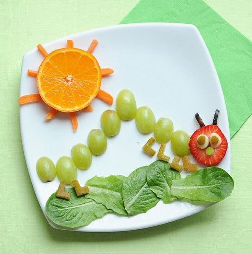 50+ Kids Food Art Lunches - Grape Caterpillar