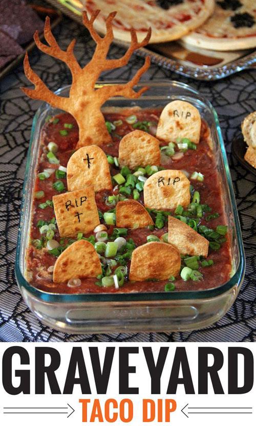 Halloween Food Ideas - Graveyard Taco Dip Recipe