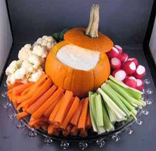 Halloween Food Ideas - Pumpkin Veggie Platter