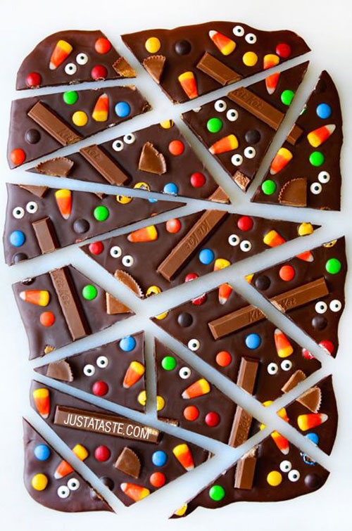 Halloween Food Ideas - Halloween Candy Bark