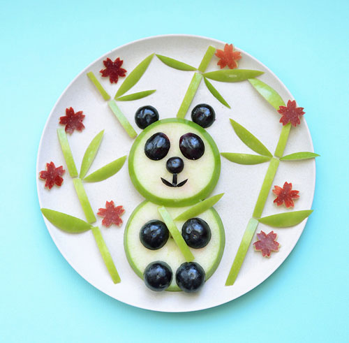 50+ Kids Food Art Lunches - Panda Bear Food Art