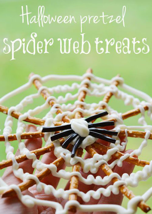 Halloween Food Ideas - Pretzel Spider Webs