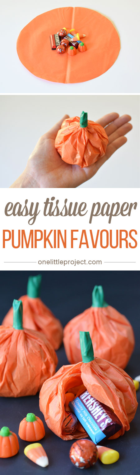 These tissue paper pumpkin favours are a great treat to send to school on  Halloween or 44d33de19ec2