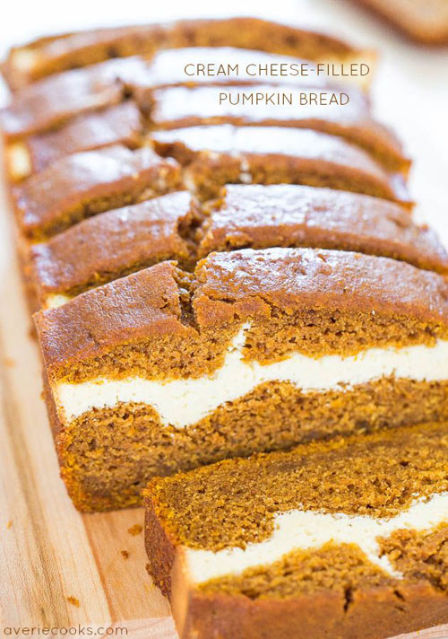 50+ Best Pumpkin Recipes - Cream Cheese Filled Pumpkin Bread