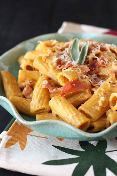 50+ Best Pumpkin Recipes - Creamy Pumpkin Prosciutto Rigatoni