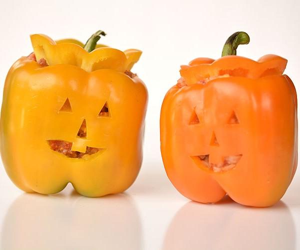 Stuffed Pepper Jack-o-Lanterns