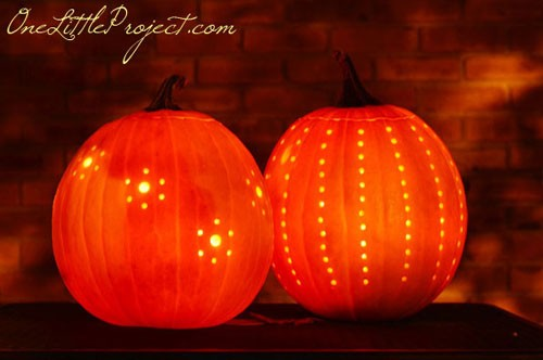 Halloween Party Ideas for Adults - Easy Drilled Pumpkins