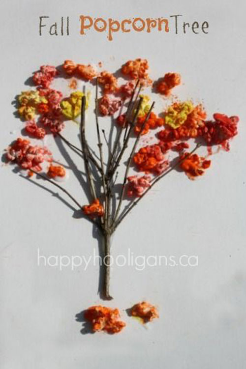 Fall Crafts for Kids - Fall Popcorn Tree