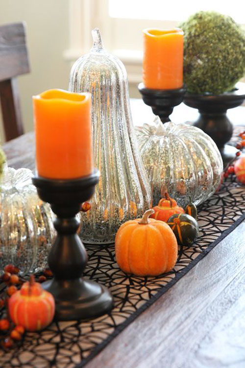 Halloween Party Ideas for Adults - Fall Tablescape Idea with Mercury Glass Pumpkin