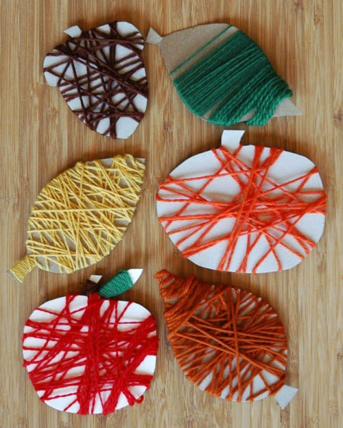 Fall Crafts for Kids - Fine Motor Fall Yarn Wrapping Craft