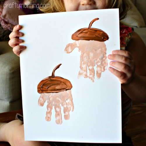 Fall Crafts for Kids - Handprint Acorn Craft