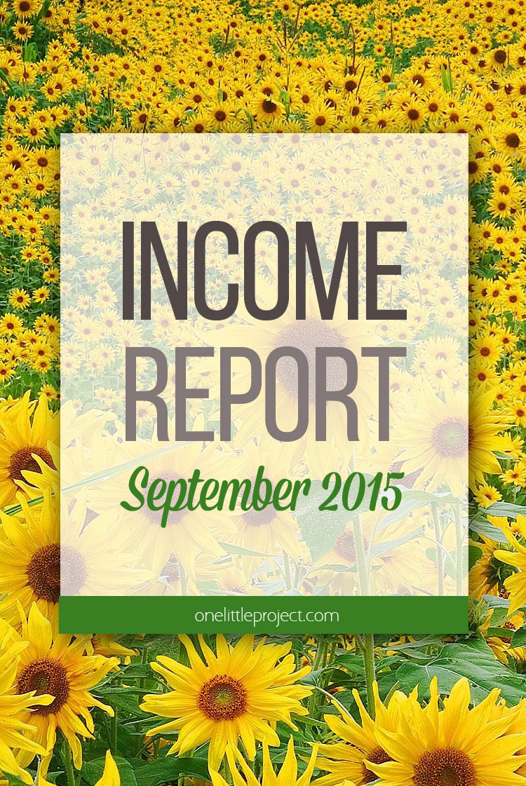 One Little Project - Income Report September 2015