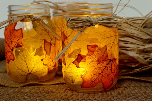 Fall Crafts for Kids - Leaf Mason Jar Candle Holder