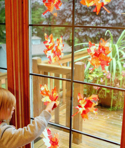 Fall Crafts for Kids - Leaf Suncatchers