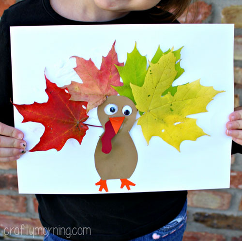 Fall Crafts for Kids - Leaf Turkey Craft