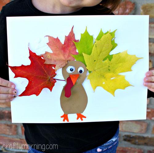 Fall Crafts for Kids - Leaf Turkey Craft