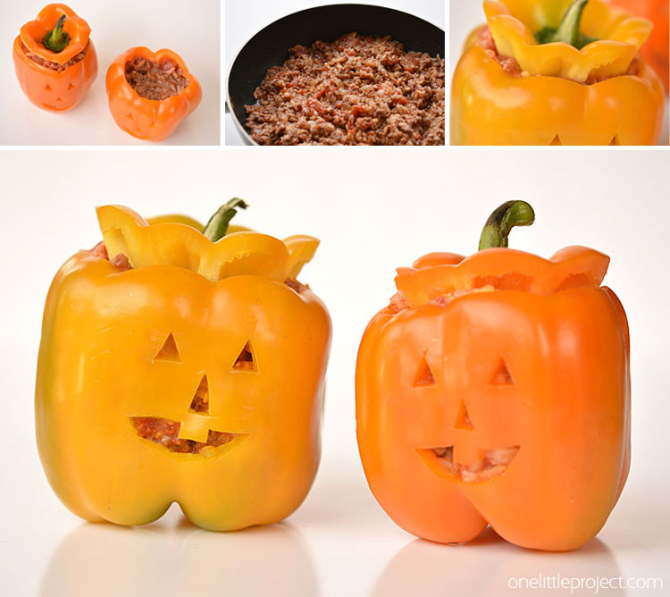These stuffed pepper jack-o-lanterns are such a FUN and healthy Halloween meal idea! They are surprisingly simple to make, and they look absolutely adorable!